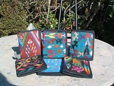 Two folded unisex huipil guatemala wallet BAG hand embroider many colors