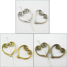 40pcs Silver/Golden/Bronze Tibetan Silver Heart Wing Frame Charm Spacer Beads