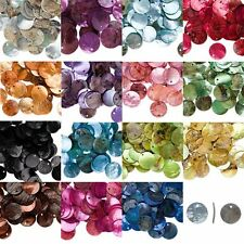 Lot of 50 Iridescent Mussel Shell 18mm Flat Round Coin Drop Charm Beads 10Colors
