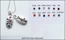"""Mixed Metals,Birthstone """"Imagine"""" Pendant/18""""Sterling Silver Chain Included"""