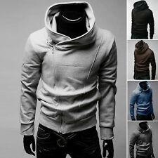 Full Zip Hooded Top Sweatshirt Hoodie Slim fit Hoodies Coats Jackets in 4 Size