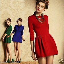 UK Trend New Women's OL Fashion Charming Slim Long Sleeves ILD Mini Dress