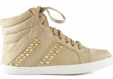 Beige Metal Studded High Top Sneaker Laced Up Women Soda Carmia Shoes Comfort