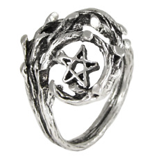 Sterling Silver Tree Branch Pentacle Pentagram Ring Wiccan Pagan Jewelry sz 4-15