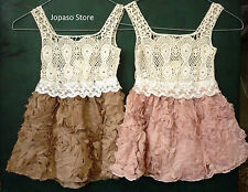 Christmas Gift Brown Pink Crochet Lace Vintage Flower Girl Dress Party Wedding