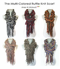 MULTI - COLORED RUFFLE KNIT SCARF - Fall, Winter, Spring Designer Fashion Trendy