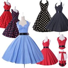 Vintage Polka dot Swing 50's Housewife Pinup Rockabilly Evening Party Prom Dress