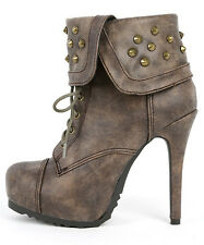 Womens Taupe Paprika Swamp Spiked Studded Cuff Ankle High Heel Boots PU-Leather