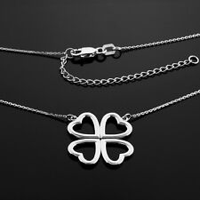 925 Silver Good Luck Shamrock Charm 4-Leaf Clover Valentine's Day Heart Necklace