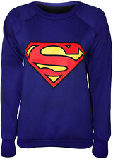 New Womens Superman Print Comic Long Sleeve Top Ladies Jumper Sweatshirt 8 - 14