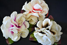 BRIDAL STYLE IVORY FLOWER AIRBRUSH COLOR HAIR BARRETTE AND BROOCHE (3 COLORS )