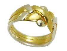 4-Band Puzzle Ring 2 COLORS18K Yellow Gold Sterling Silver (Sizes 5-11) #2575SG