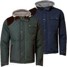 Mens Hooded Padded Quilted Dissident Jacket Hunter Style Lined Cord Patches