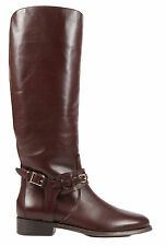BURBERRY STIVALI DONNA IN PELLE NUOVO ORIGINALE BRISTOL MARRONE BOOTS WOMEN' B4C