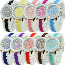 Women Geneva Silicone Band Jelly Gel Quartz Analog Sports Wrist Watch 10 Colors