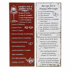Vintage shabby chic signs plaques, recipe love wall hangings