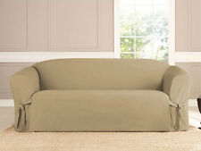 2 PIECE MICRO-SUEDE FURNITURE SLIPCOVER SOFA & LOVESEAT COUCH COVERS TAUPE BLACK