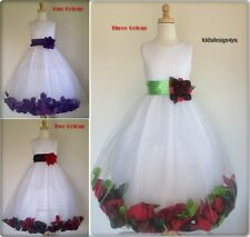 New Customize own Colour Flower Girl Party Rose Petal dress size2-4-6-8-10-12-14