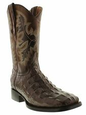 Men's brown crocodile alligator back cut cowboy boots leather square toe western