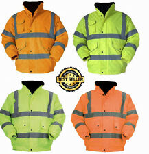 Hi Viz High Visibility Waterproof Bomber Safety Work Jacket Coat Yellow Orange