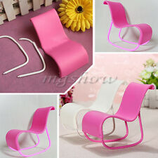1/2pcs Miniature Rocking Furniture Pink White Chair For Barbie Doll Livingroom