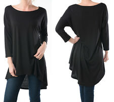 Long TUNIC TOP Slouchy Loose T Shirt Blouse Boatneck Bottom Coverage S M L XL