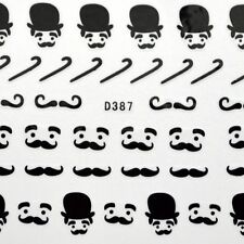 Black Moustache Bow Water Transfer Nail Art Stickers Decals nail tips decortaion