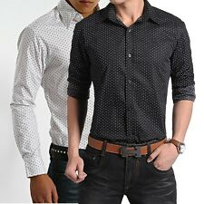 MT184 Mens Long Sleeve Polka Dot Luxury Casual Slim Fit Stylish Dress Shirts