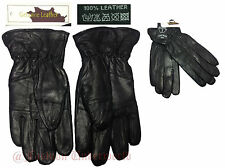 Mens Ladies Fleece Lined Thermal Insulated Genuine Black Leather Mens Gloves