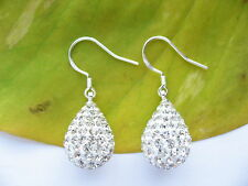 925 Sterling Silver Stamped Tear Sparkling Shamballa Drop Ball Earrings Gift 001