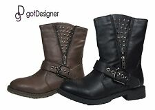 NEW Women's Fashion Shoes Mid Calf Military Combat Boots Studded Black Brown