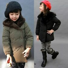 Kids Toddlers Girls Boys Lapel Fleece Hooded Jacket Outerwear Coat Thick S409