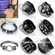 New Black Cowhide Spider Skull Men's Bracelet Punk Rock Leather Wristband Gothic
