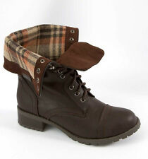 Womens Military Combat Boots PU-Leather Foldable Laced Up Riding Plaid Brown