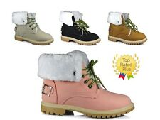 WOMENS LADIES GIRLS FLAT LACE SPORTS TRAINERS HI TOP FUR BUCKLE BOOTS SHOES SIZE