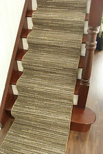 Non Slip Taupe Brown Black Hall Runner Rug Neutral Seagrass Style Stair Carpet