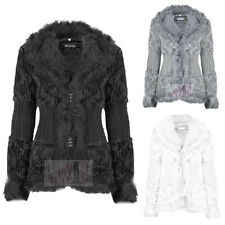 WOMENS FAUX FUR KNITTED WARM WINTER JACKET TWIN CLASP THICK CARDIGAN COAT