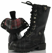 Girl's Black Lace-up Combat Folded Cuff Riding Mid-Calf Boots Oralee-2BLK KF