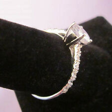 STERLING SILVER Solitaire Accented CZ Band Ring Size 5, 6, 7, 8 BID
