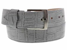 Embossed crocodile alligator belly leather belt silver buckle boots shoes cowboy