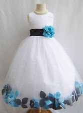 WHITE BLACK TURQUOISE BLUE BABY TODDLER WEDDING PAGEANT PARTY FLOWER GIRL DRESS