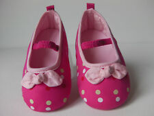 Baby Girl Princess Pre-Walker soft sole slip on shoe. Pink with polka dots & Bow
