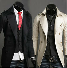 New Stylish Mens slim Trench Coat Winter Long Jacket Double Breasted Overcoat