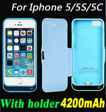 4200mAh External Battery Backup Charging Power Bank Case holder F Iphone 5 5S 5C