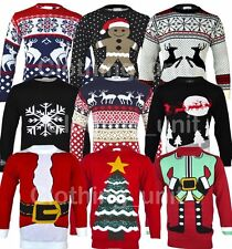 Mens Christmas Xmas Jumpers Snowman Reindeer Novelty Winter Santa  **FREE P&P**