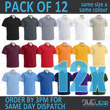 12x GILDAN ULTRA COTTON POLO SHIRT,PLAIN UNISEX,MEN WOMEN BULK PACK ADULT 3800