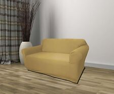 TAN JERSEY LOVESEAT STRETCH SLIPCOVER, COUCH COVER, FURNITURE LOVE SEAT COVER