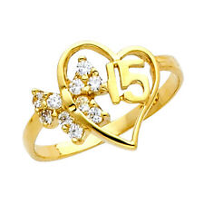 14K Dainty Gold Sweet Quinceanera 15 Anos Ring with 10 Clear Cubic Zirconia