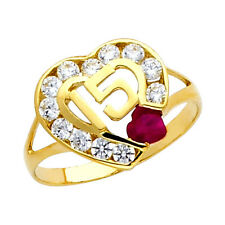 14K Dainty Gold Sweet Quinceanera 15 Anos Heart Ring with 12 Clear and 1 Ruby CZ