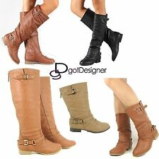 NEW Women's Shoes Knee High Mid Calf Boots Riding Slouch Military Motor Flat